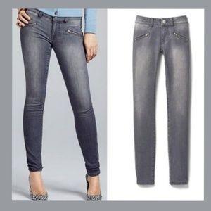 Cabi grey zip skinny jeans size 8, style 5167